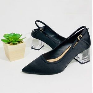 New Zara black sling backs with clear heels pumps